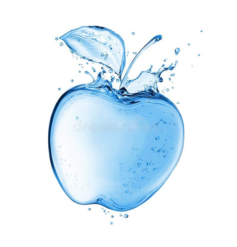 Apple con los descensos hechos del agua salpica Imagen del concepto aislada en el fondo blanco ilustración del vector