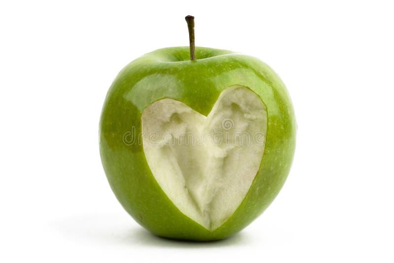 Apple con un corazón imagen de archivo libre de regalías