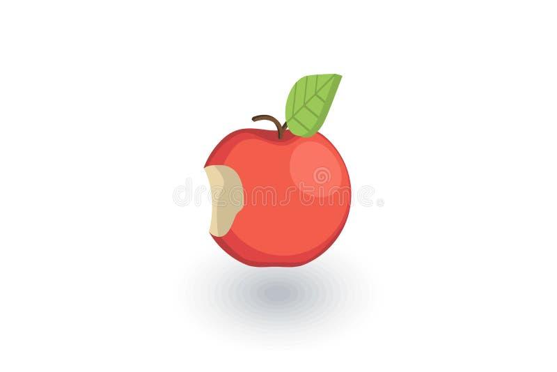 Apple con un icono plano isométrico de la mordedura vector 3d stock de ilustración