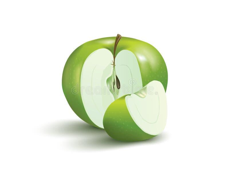 Apple con una fetta dietro illustrazione vettoriale