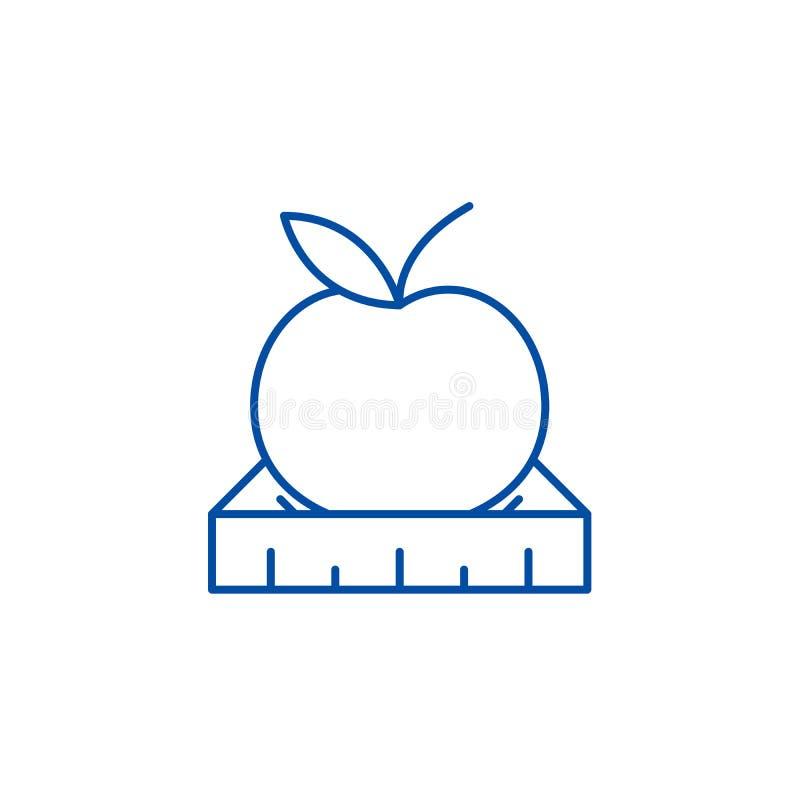 Apple con una línea de regla concepto del icono Apple con un símbolo plano del vector de la regla, muestra, ejemplo del esquema libre illustration