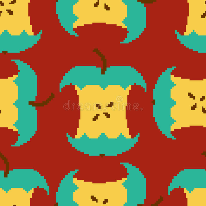 Apple Core Pixel Art Seamless Pattern. Pixelated Fruit