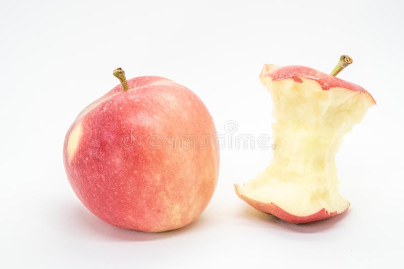 An apple and apple core stock photography