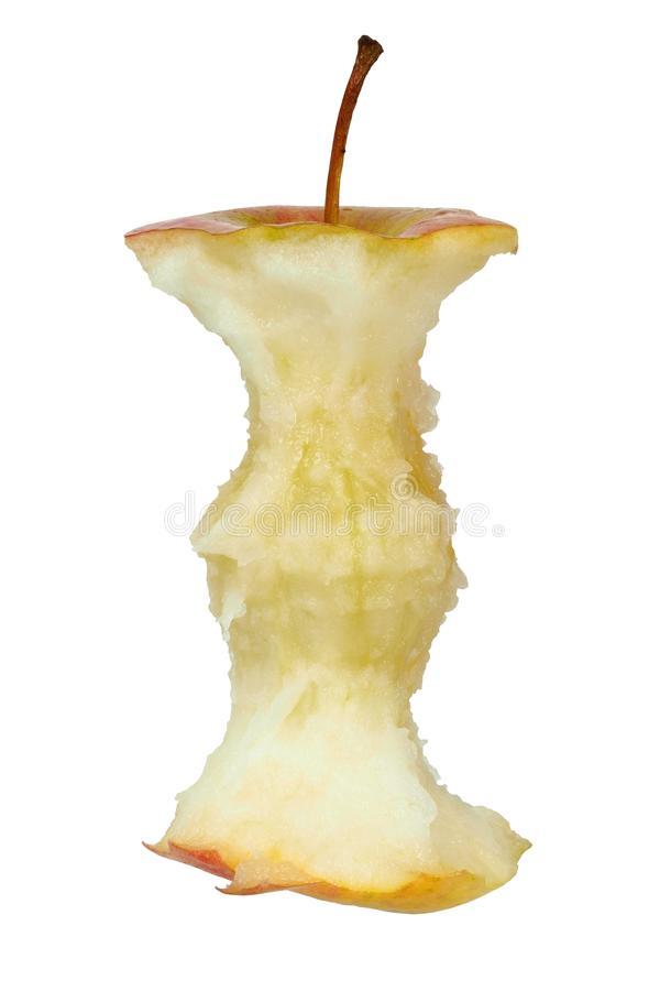 Apple core on white stock photography