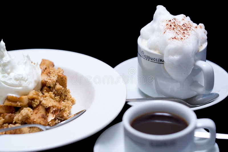 Apple Crumble and Coffee royalty free stock photography
