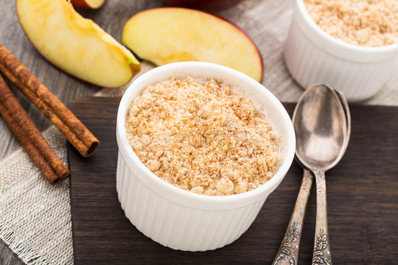 Apple crumble dessert royalty free stock photos