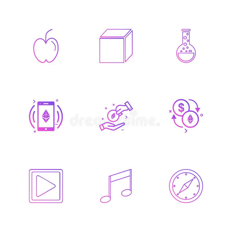 apple , cube , beaker , play , music, compass , dollar , crypto vector illustration