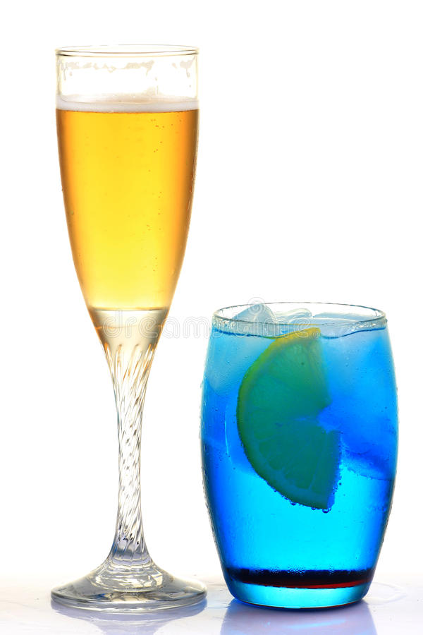 Apple and curacao drink royalty free stock photo