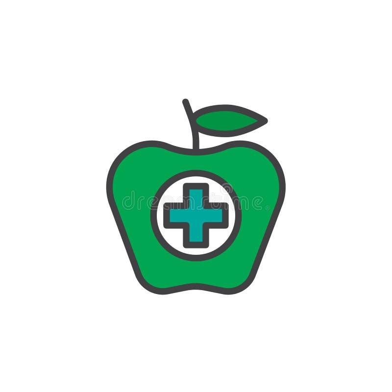 Apple da fruto con un icono llenado suma del esquema stock de ilustración