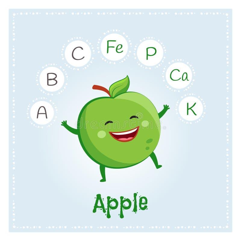 Apple da fruto las vitaminas y los minerales Carácter divertido de la fruta Ejemplo sano de la comida ilustración del vector
