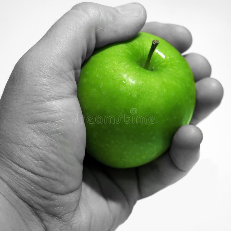 Apple dans la main photographie stock