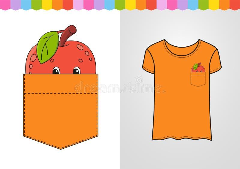Apple dans la poche de chemise Caract?re mignon Illustration color?e de vecteur Type de dessin anim? D'isolement sur le fond blan illustration stock