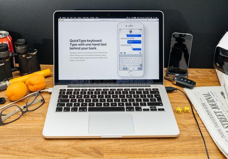 Apple-datorer på senast meddelanden för WWDC av den snabba typkeyboen royaltyfria bilder