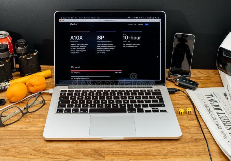 Apple-datorer på senast meddelanden för WWDC av A10x-fusion gå i flisor arkivbild