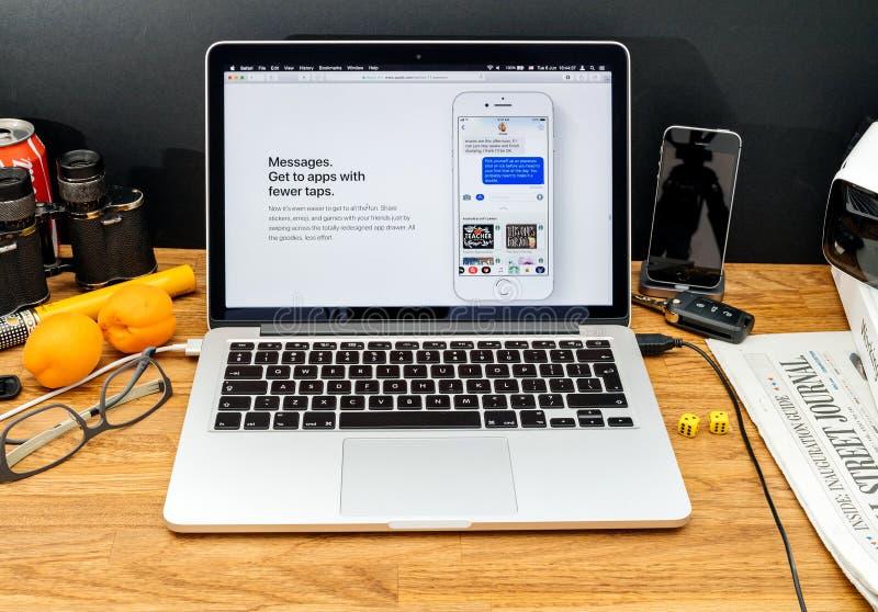 Apple-datorer på senast meddelanden för WWDC av imessages arkivbild