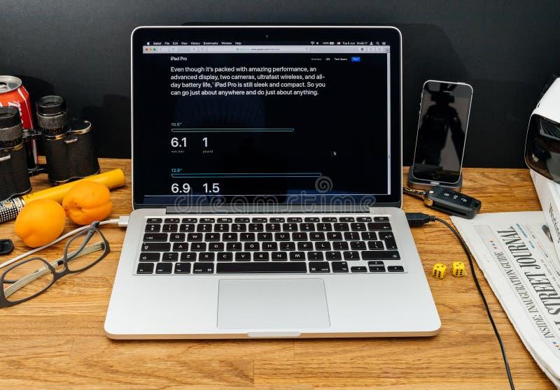 Apple-datorer på senast meddelanden för WWDC av ipadpro-dimensien arkivbilder