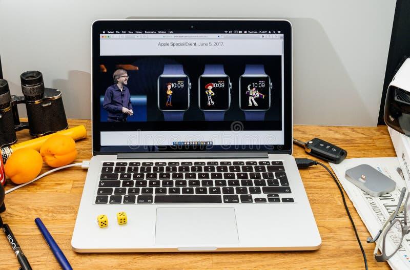 Apple-datorer på senast meddelanden för WWDC vid den Kevin Lynch abouen arkivfoto