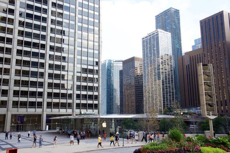 Apple-datorlager, i stadens centrum Chicago Illinois arkivfoton