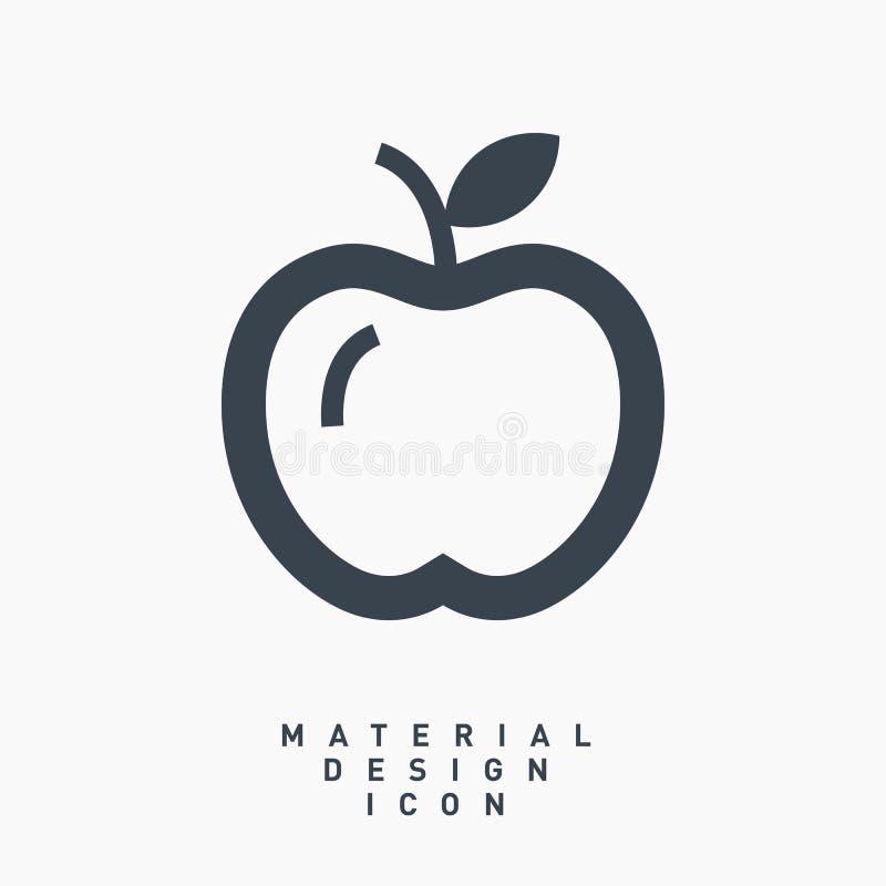 Apple-de lijn vectorpictogram van het fruit materieel ontwerp stock fotografie