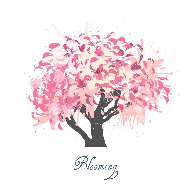 Apple-de schets van de boombloesem stock illustratie