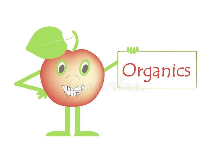 Apple de sourire rouge avec des mains et des pieds, yeux verts, feuilles, un signe qui indique la nourriture organique et saine p illustration stock