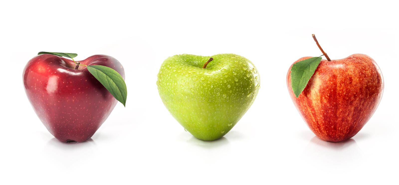 Apple in de vorm van hart stock fotografie