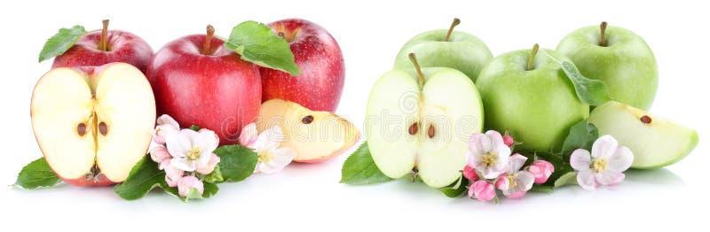 Apple-de vruchten van fruitappelen rode groene gesneden plak half geïsoleerd o royalty-vrije stock fotografie
