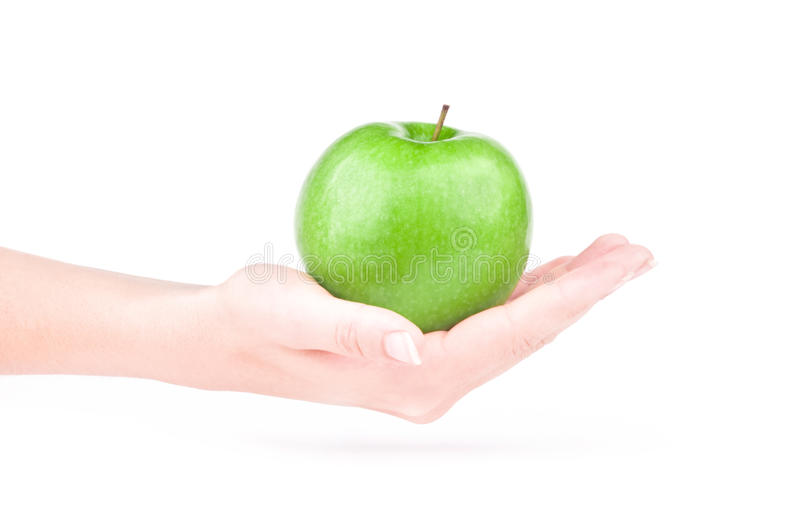 Apple in der Hand stockfoto