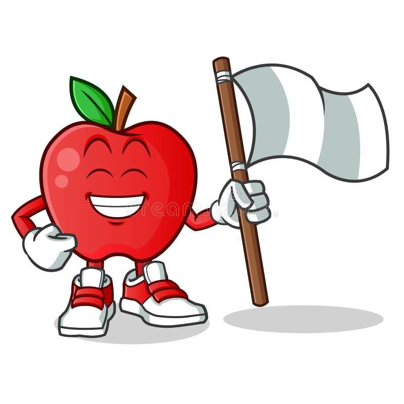 Apple die vector het beeldverhaalillustratie houden van de vlagmascotte royalty-vrije illustratie