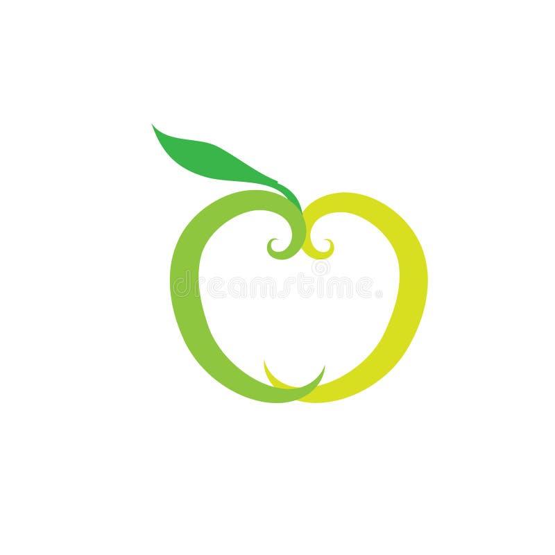 Apple dirigent le logo Emblème sain de nourriture Logo de jardin de fruit Label de jus d'orange illustration stock