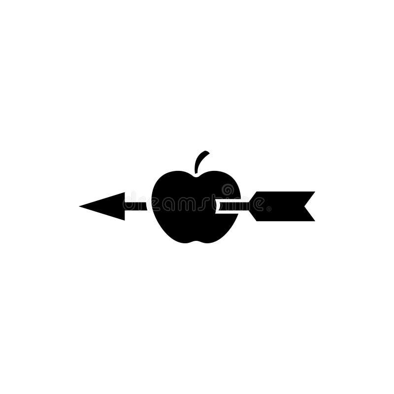 Apple disparou com ícone liso do vetor da seta ilustração do vetor