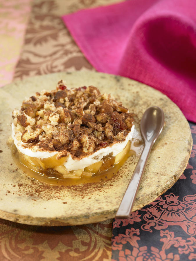 Apple, dried fig, hazelnut and honey Tiramisu. Food, gastronomy, cooking, cookery royalty free stock photos