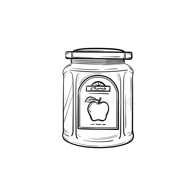 Apple driftstopp i glass en dragen krushand skissar symbolen stock illustrationer