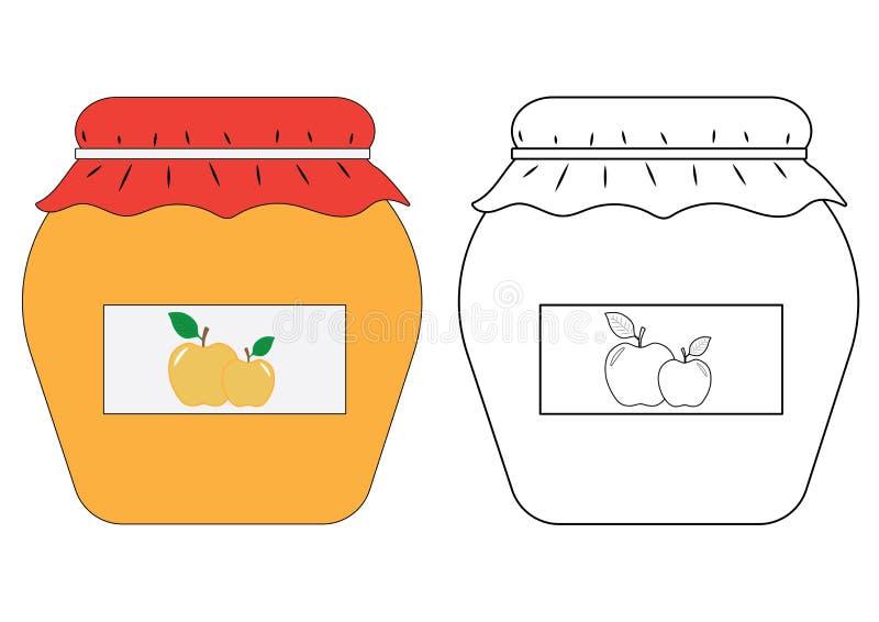 Apple driftstoppkrus, färgläggningbok också vektor för coreldrawillustration stock illustrationer