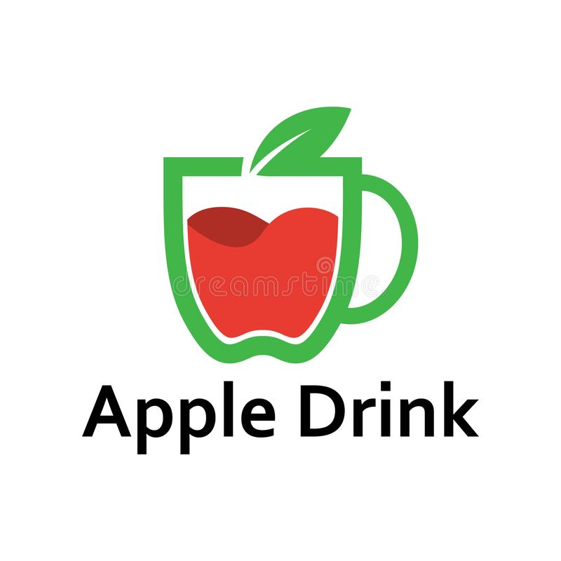 Apple Drink Cup Shape Fruit Logo Template vector illustration