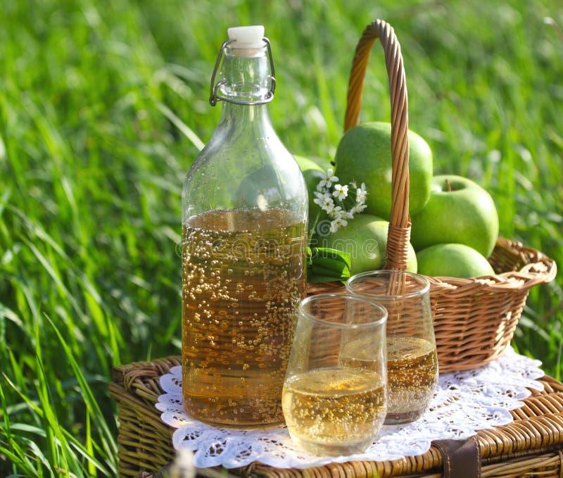 Apple drink utomhus arkivbild