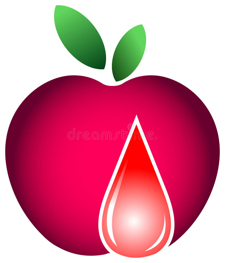 Apple with drop royalty free illustration