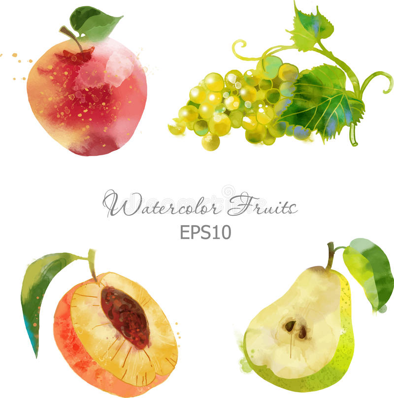 Apple, druif, perzik, peer royalty-vrije stock afbeelding