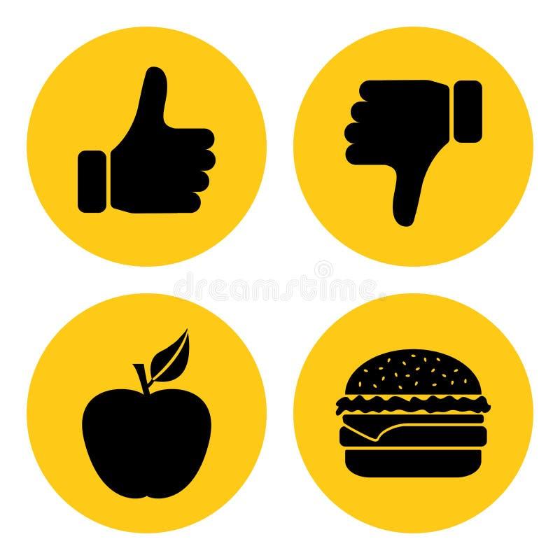 Apple e cheeseburger A escolha entre o alimento insalubre e o alimento saudável Direita e erro Ilustração do vetor ilustração do vetor