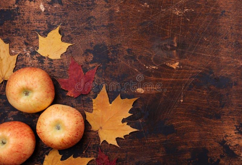 Apple e fundo de madeira do grunge velho vermelho amarelo das folhas de bordo de volta ao conceito da escola imagem de stock