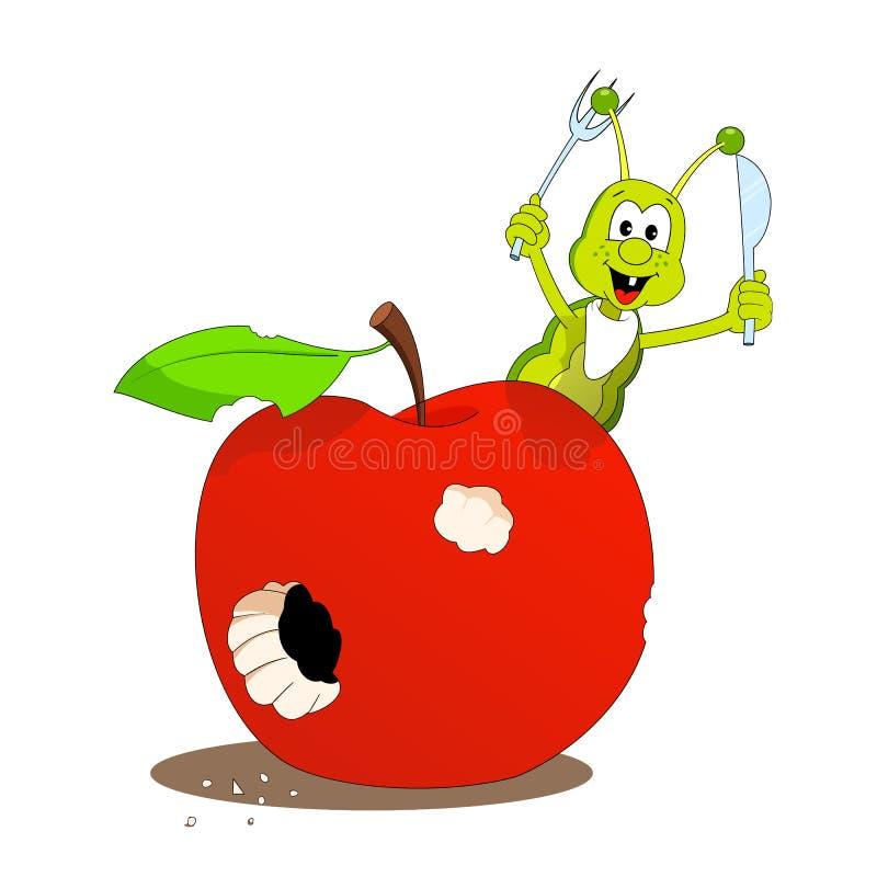 Apple e lagarta pequena ilustração do vetor