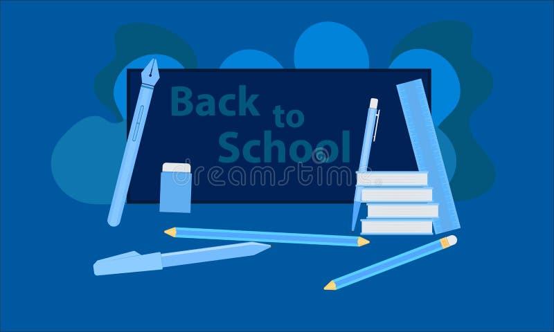 Apple e leite de encontro a um quadro-negro com de volta a mensagem da escola nela equipamento da aprendizagem aprender aprecia e ilustração do vetor