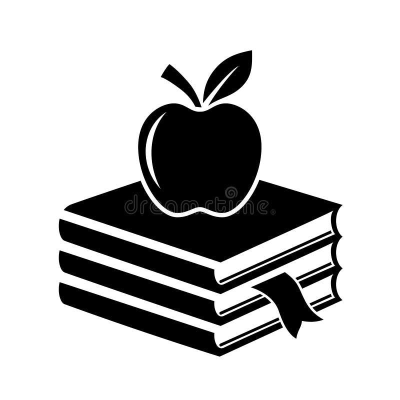 Apple e montão do ícone da educação dos livros ilustração do vetor