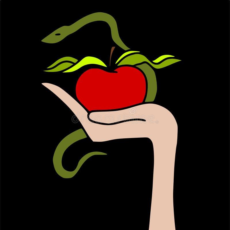 Apple e serpente ilustração stock