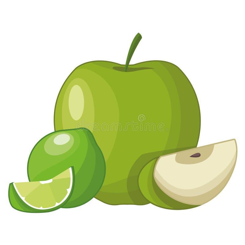 Apple ed il limone hanno affettato i frutti illustrazione di stock