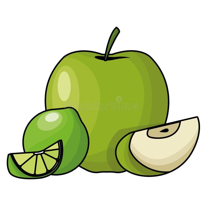Apple ed il limone hanno affettato i frutti royalty illustrazione gratis