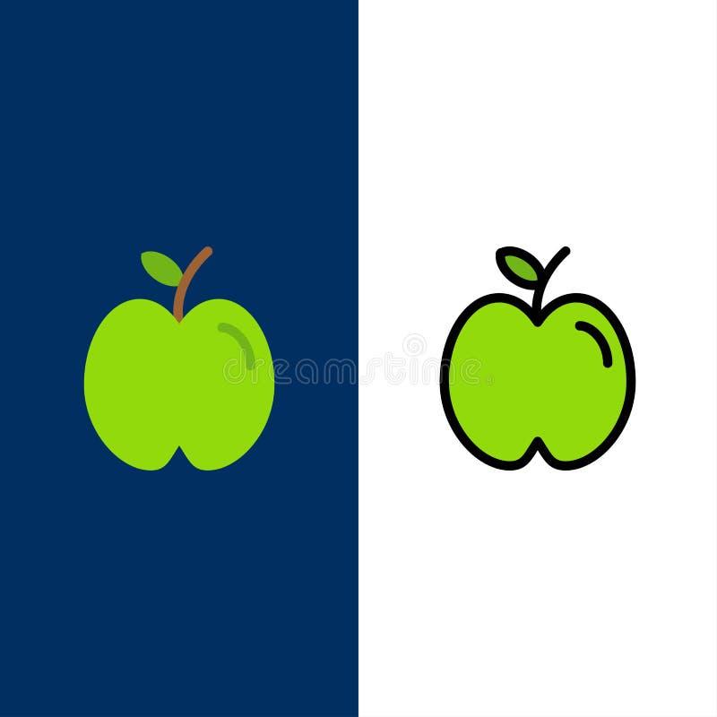 Apple, educación, escuela, iconos del estudio El plano y la línea icono llenado fijaron el fondo azul del vector libre illustration