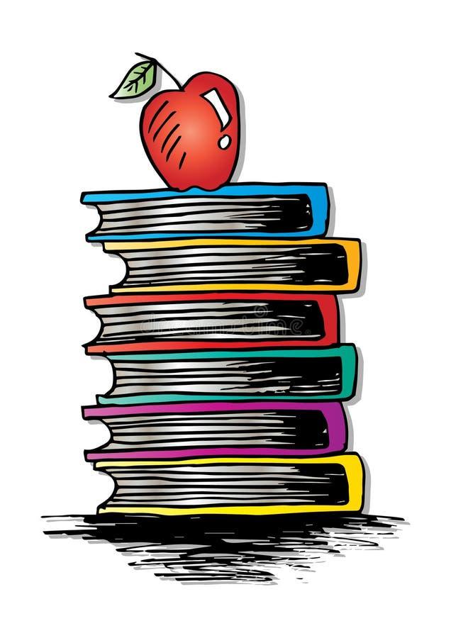 Apple em livros ilustração do vetor