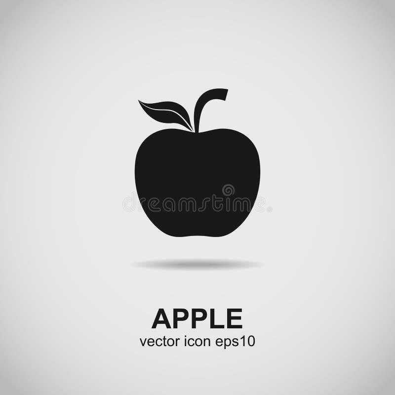 Apple-embleem Fruitsilhouet Zwarte pictogramvector royalty-vrije illustratie
