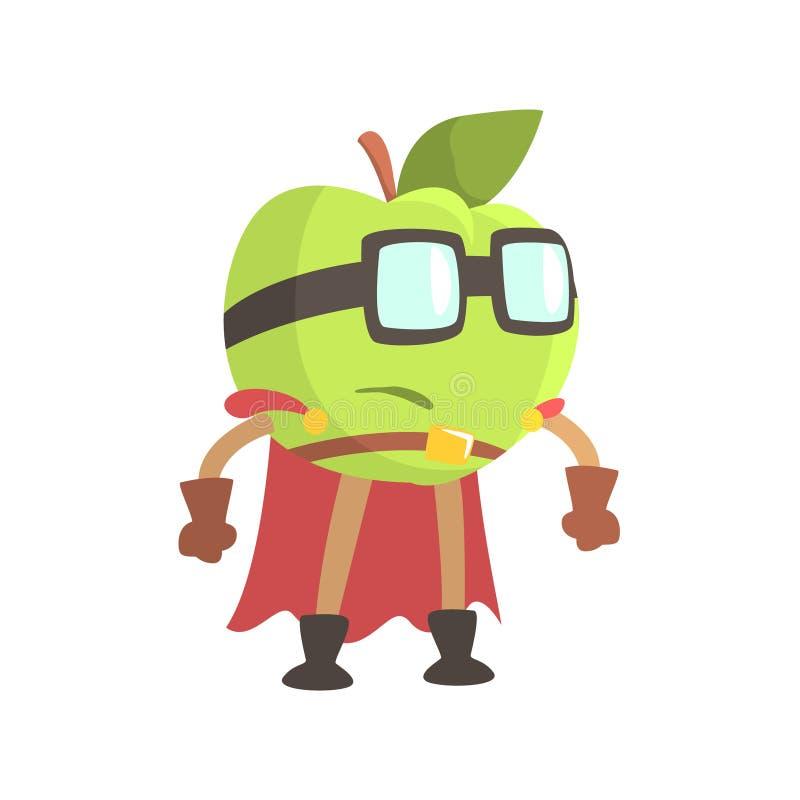 Apple en los vidrios que llevan al super héroe del cabo se viste, parte de frutas en series de los disfraces de la fantasía de ca ilustración del vector
